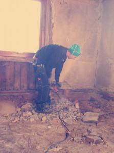 Renovering av hus pågår.