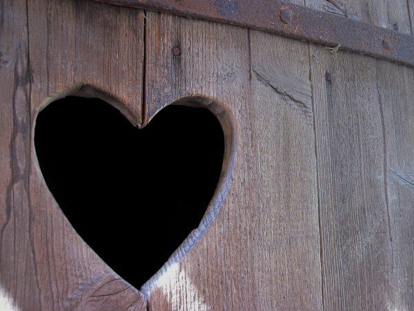 Dörr på utedass, trä och utskuret hjärta