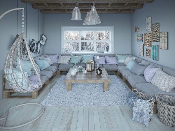 Ljust och fräscht vardagsrum med trägolv