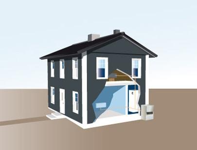 Luft/vatten-värmepumpen fångar upp värme i uteluften. Foto: www.ivt.se