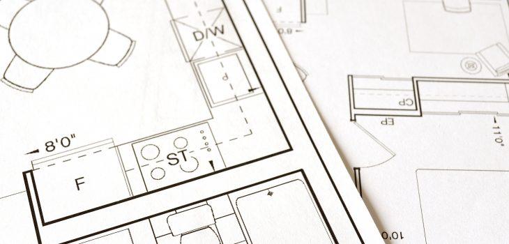 Ritning_skiss av hus. Kök och badrum syns på ritningen