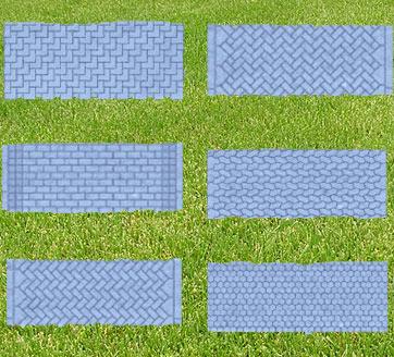 Några exempel på olika mönster vid stensättning.